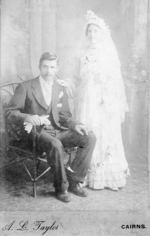 France Bridget Carroll and Frederick Goldup, Wedding 30 Dec 1903, Cooktown, Qld.