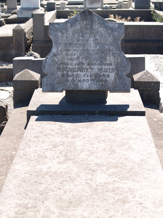 Headstone for Flora (McInnes) Muir (1834-1913) and daughter Margaret Muir (1856-1948); Geelong East Cemetery