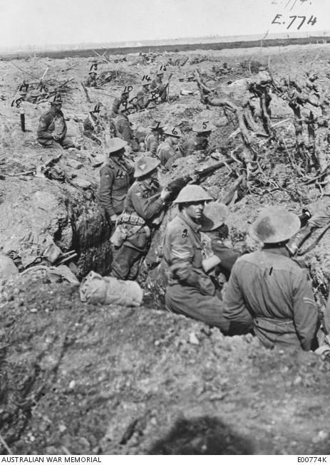 Fig.4: Troops of A Company, 27th Battalion, 2nd Australian Infantry Division, in th etrenches in the second line in front of Albert Redoubt; 20 September 1917.