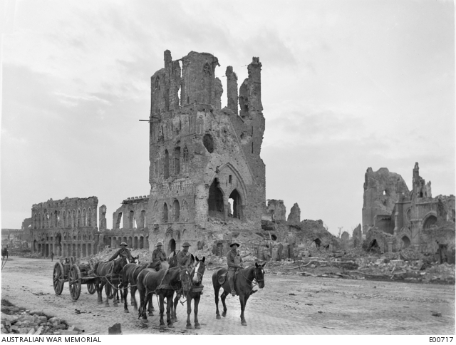 Fig.5: A loaded limber passing the ruins of Cloth Hall at Ypres; 14 September 1917