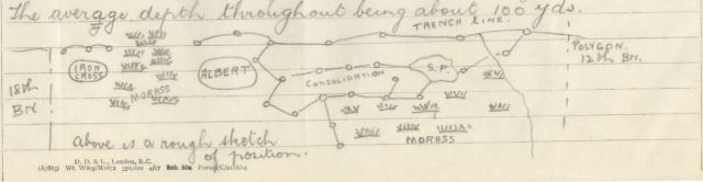 Fig.5: War Diary sketch map showing location of 27th Battalion when Robert Crossfield was wounded on the second occasion.